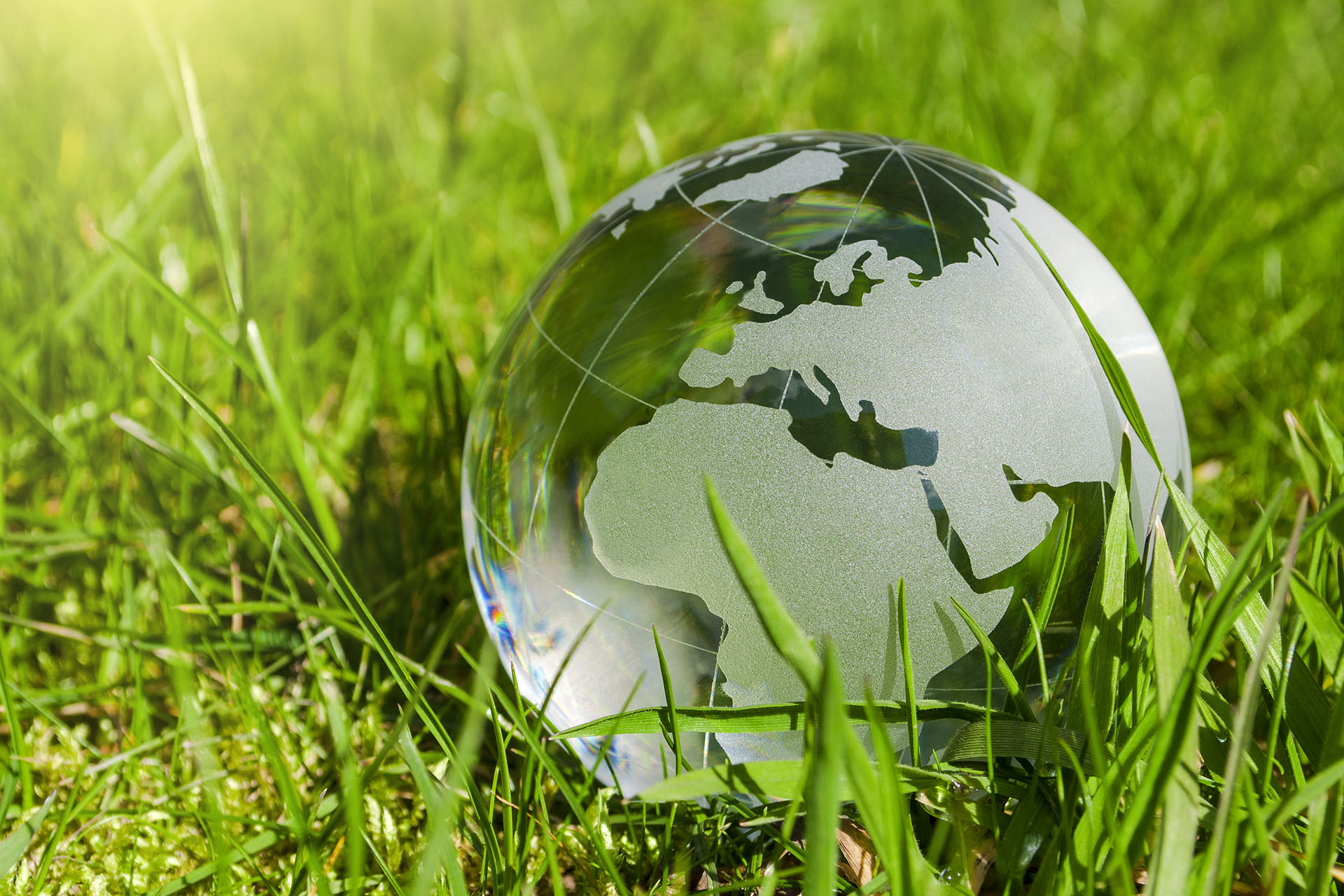 Weltkugel aus Glas, Erde mit Gras und Sonne, Naturschutz, Umwelt